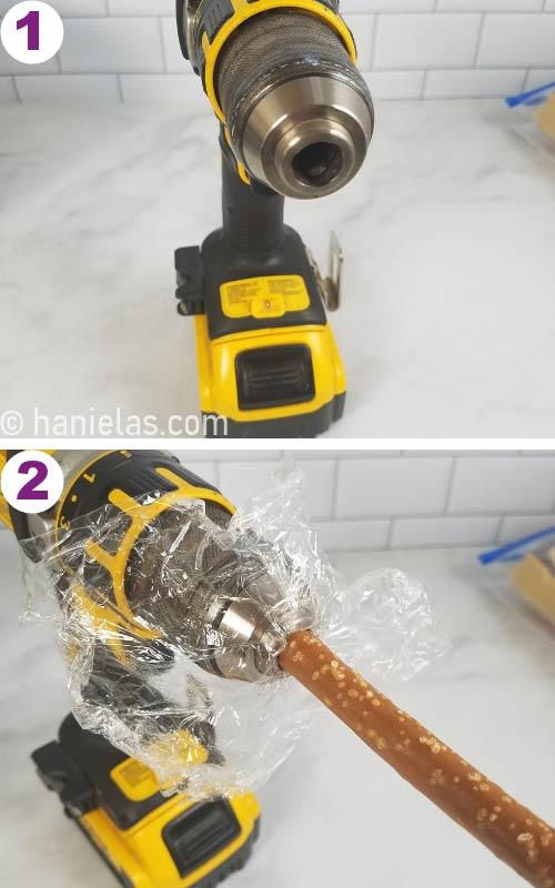 Dewalt drill with a food wrap and a pretzel rod attached.