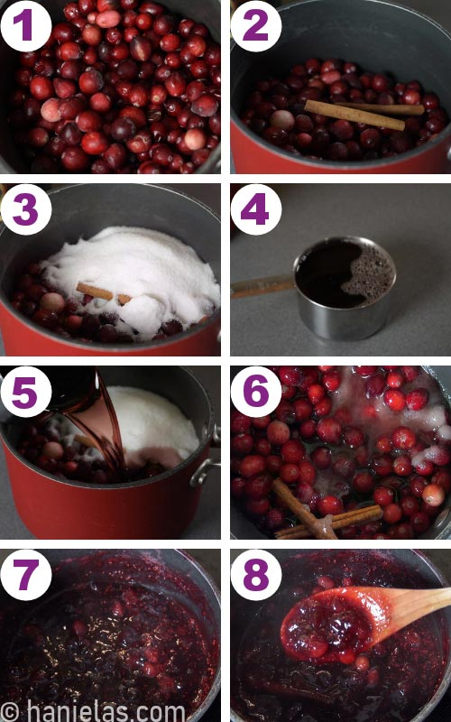 Pot with cooked cranberry filling.