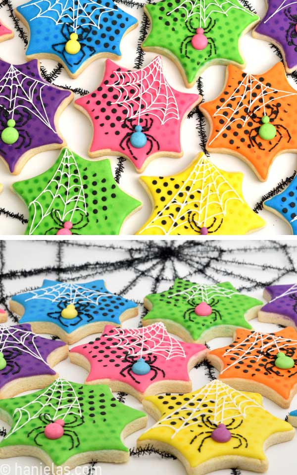 Decorated Halloween spider cookies displayed on a white table.