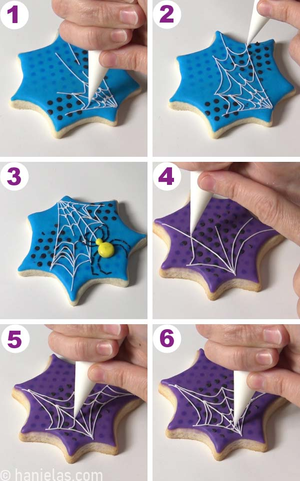 Piping white royal icing spider web onto a cookie.
