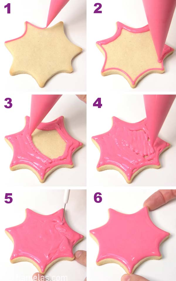 Outlining and flooding a cookie with royal icing.