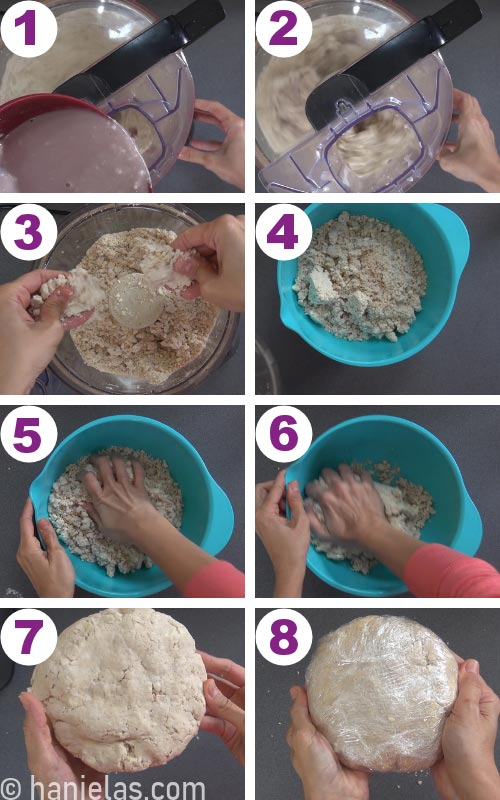 Food processor with pie dough.