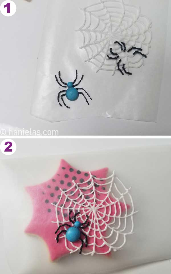 Royal icing spiders piped onto a wax paper.
