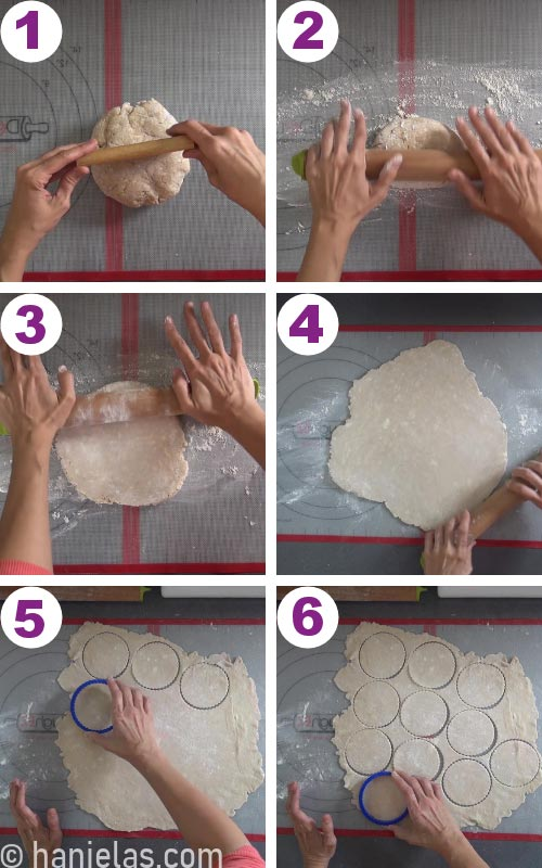 Pie dough rolled out on a silicone mat with cut out dough rounds.