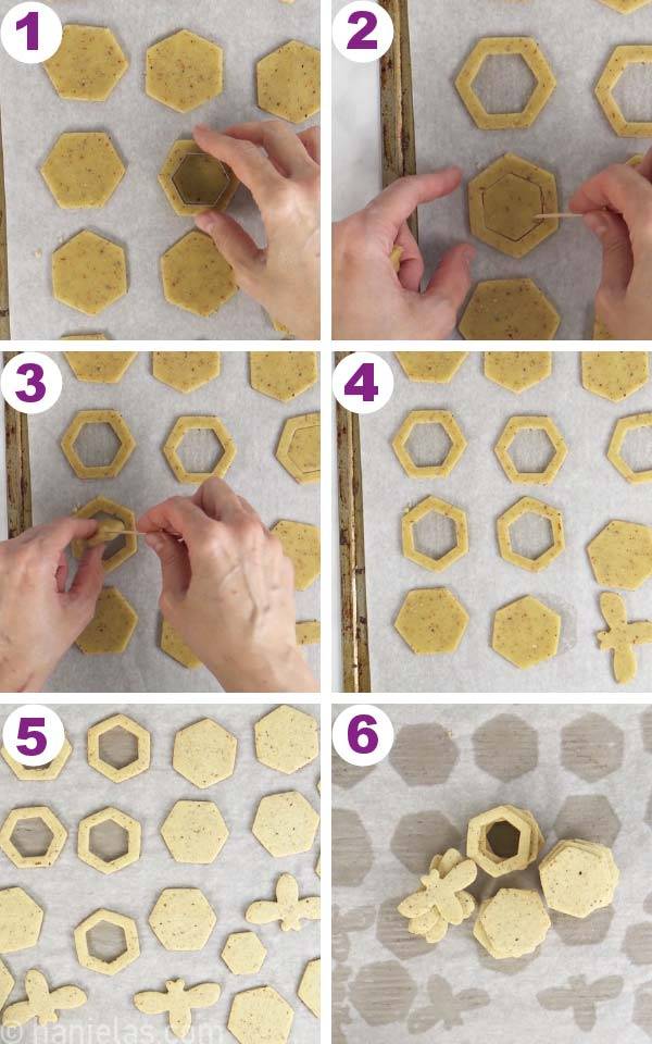 Cutting out center of hexagonal cookie and lifting up middle with a toothpick.