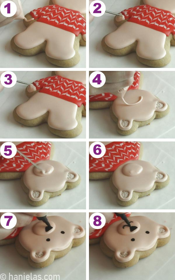Piping a muzzle onto a bear cookie.