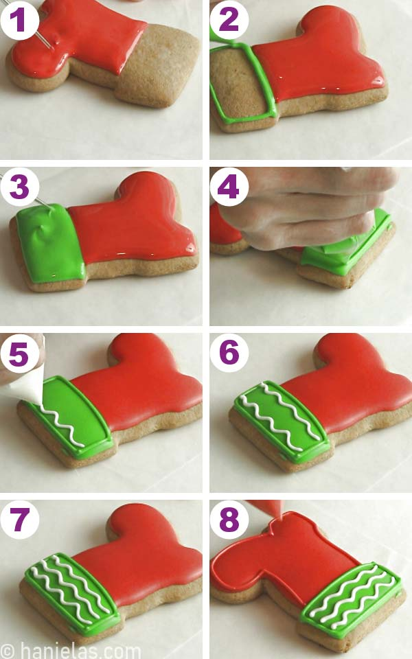 Boot shaped cookie decorated with red and green icing.