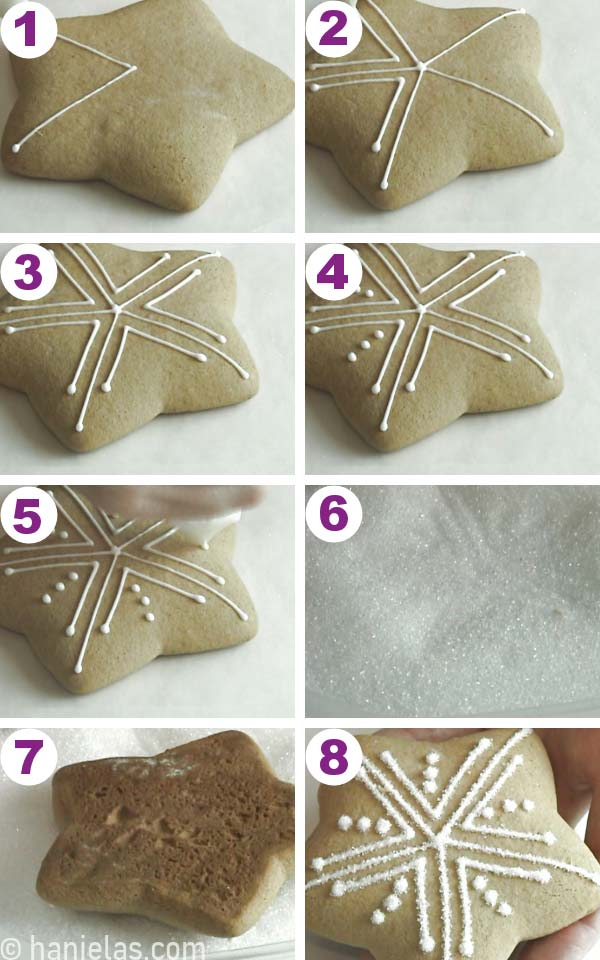 Star shaped cookies with simple white pipe lines.
