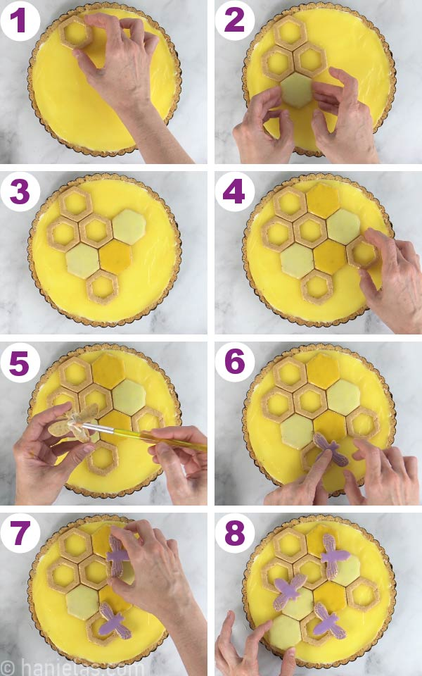 Decorating top of the lemon curd layer with hexagonal cookies.