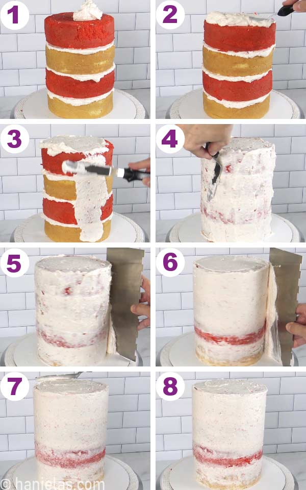 Covering cake with a crumb coat buttercream frosting and smoothing it with a cake smoother.