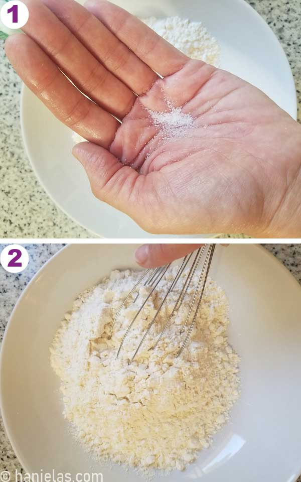 Whisking flour in a bowl with salt.