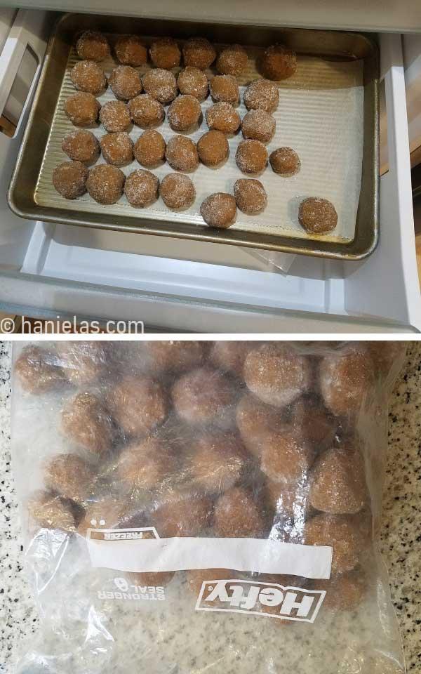Frozen balls of cookie dough on a baking sheet.