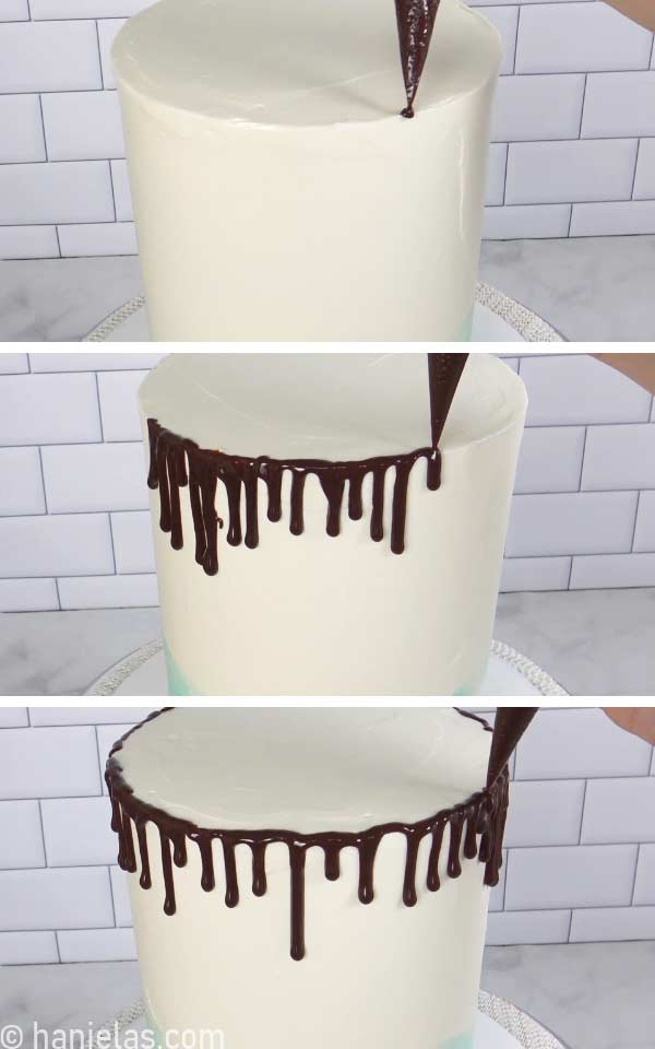 Piping bag with chocolate ganache piping drip onto a cake.