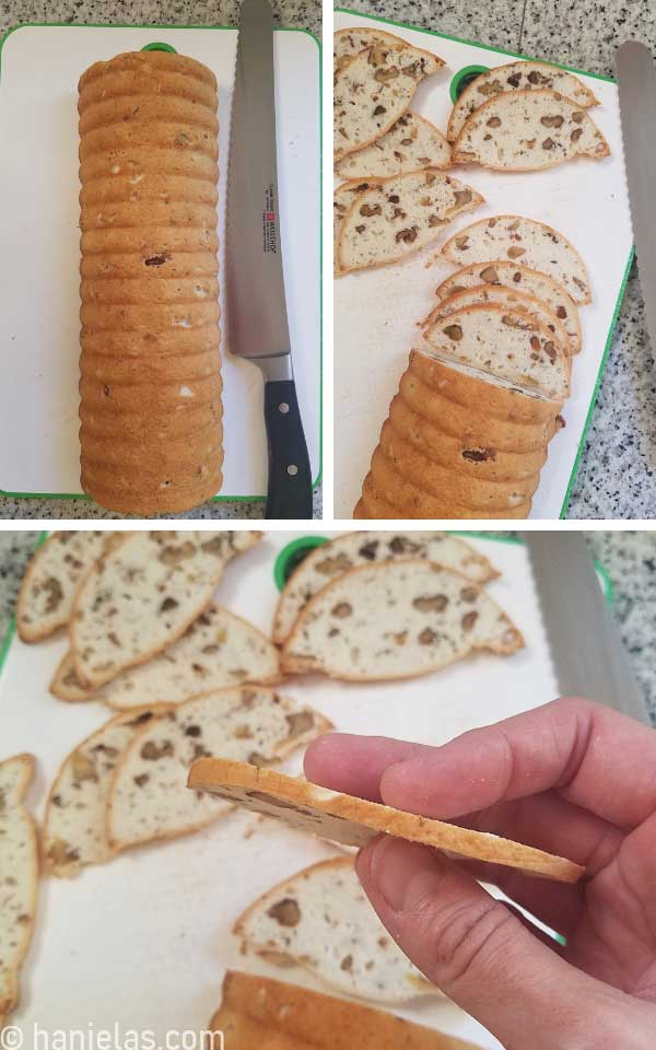 Slicing thin cookies on a cake board with a serrated knife.