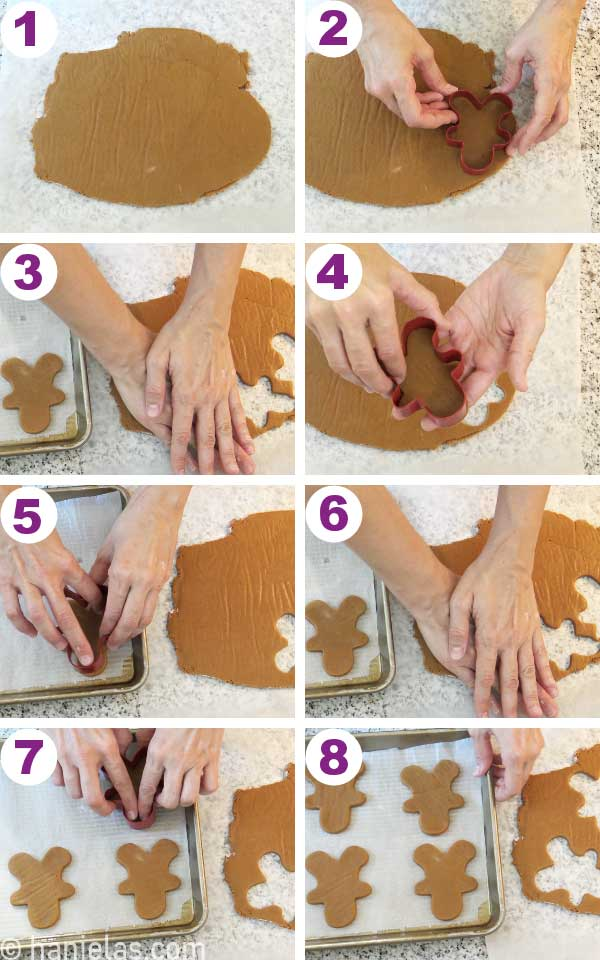 Cut out cookies on a baking sheet lined with parchment paper.