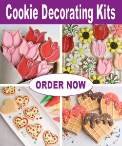 Variety of decorated cookies.