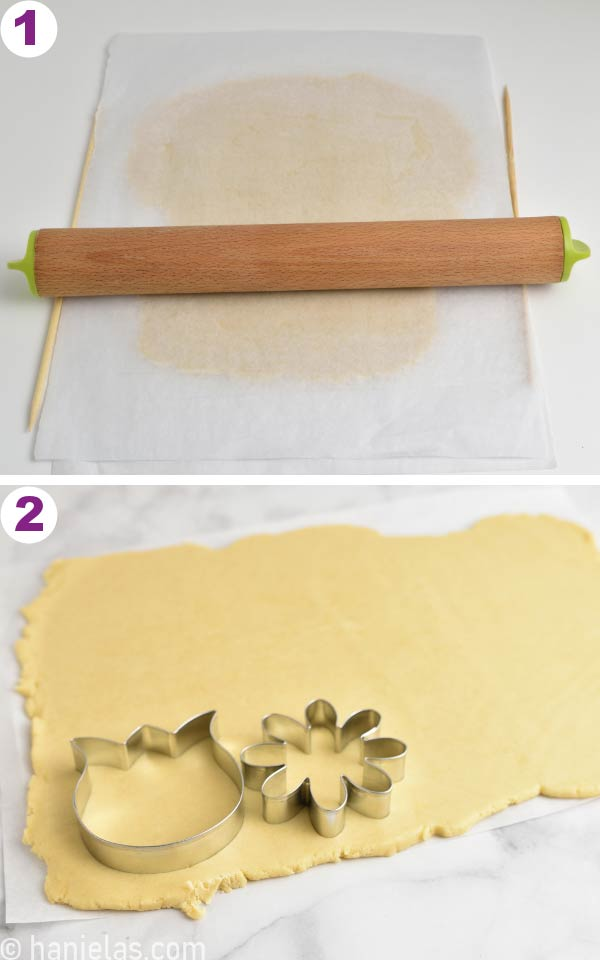 Sugar cookie dough rolled out between two sheets of parchment.