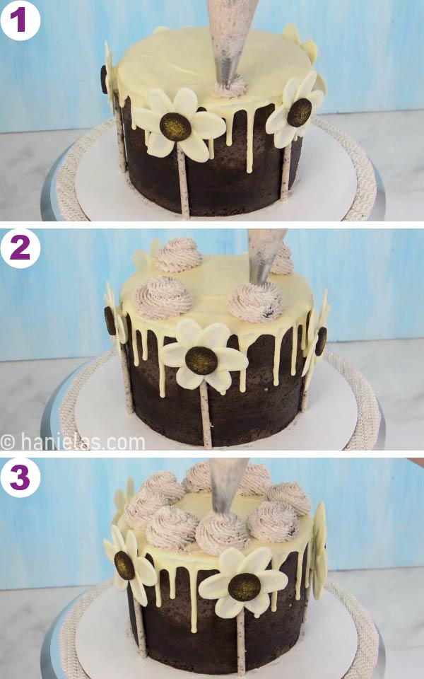 Piping swirls on top of the cake.