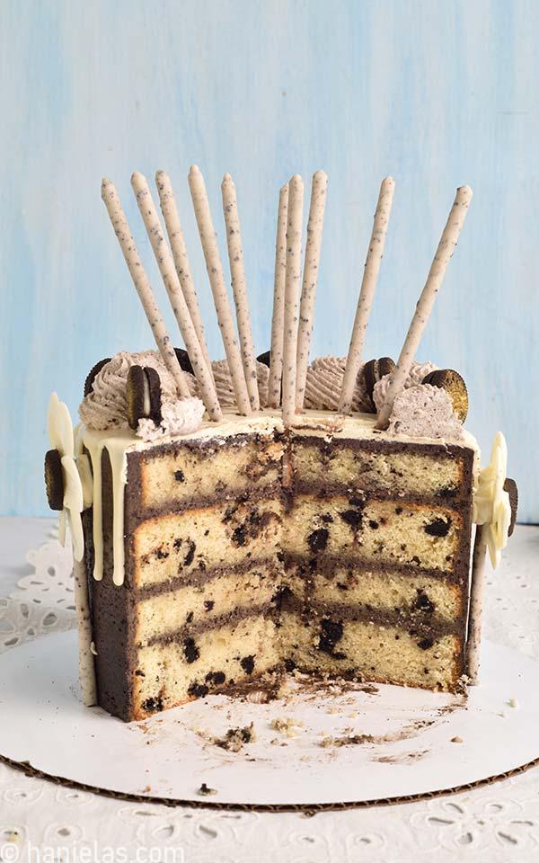 Cut cake on a cutting board.