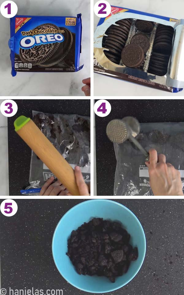 Oreo cookies in a ziploc bag being crushed with wooden rolling pin and meat tenderizer.