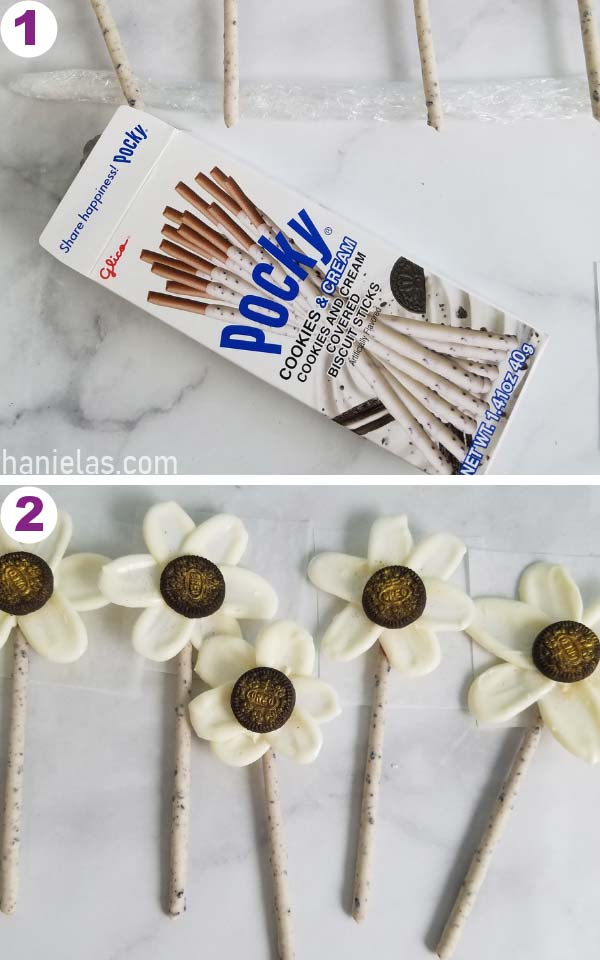 Pocky sticks in the packaging.