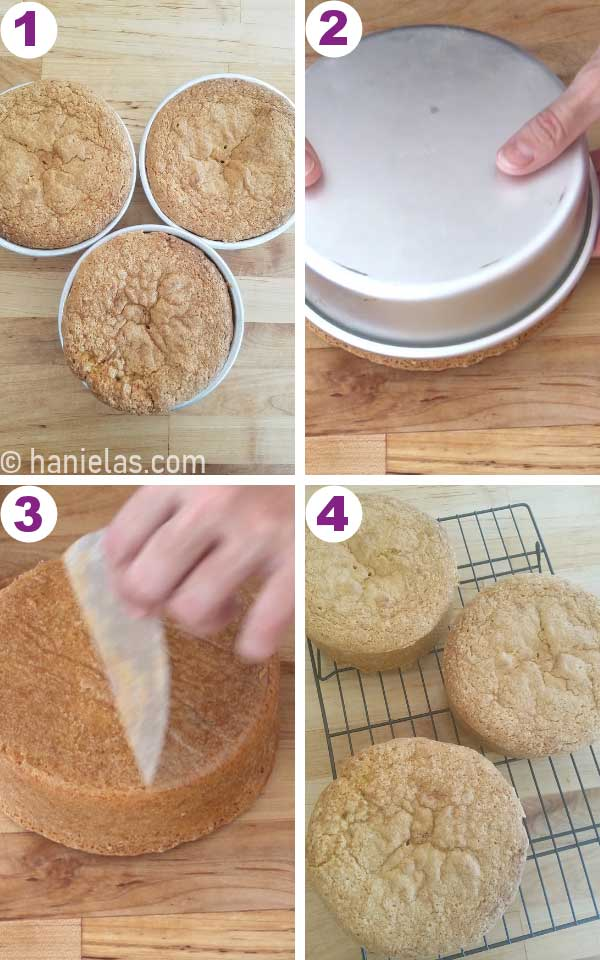 Releasing a cake from a baking pan, baked cakes on a cooling rack.