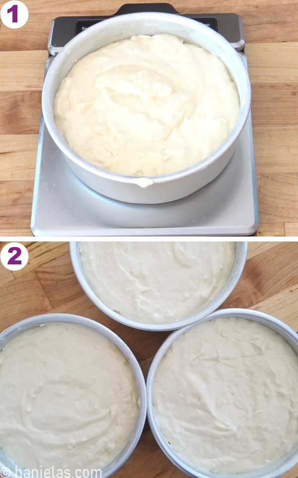 Cake pan with cake batter on a scale.