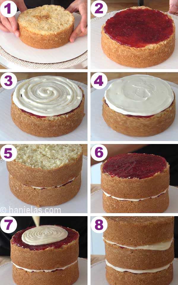 Filling the cake with jam and frosting, stacking cakes on top of each other.