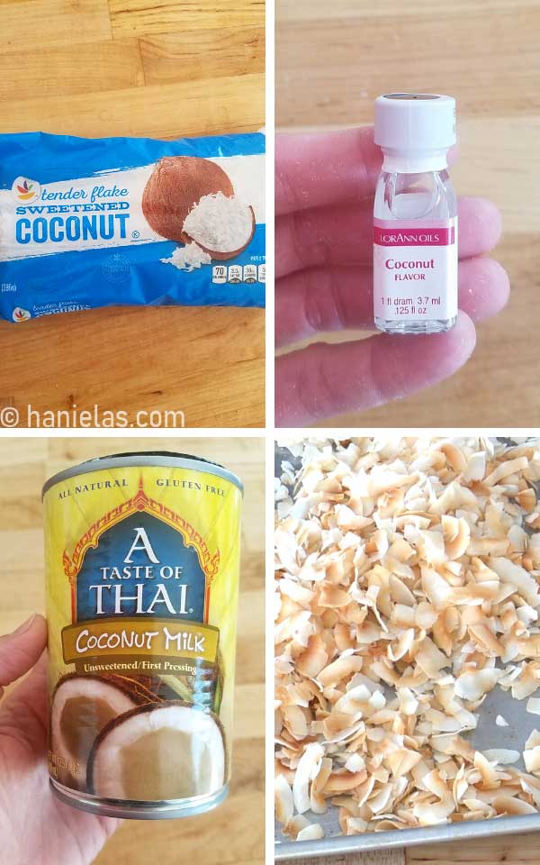 Bag of sweetened shredded coconut, coconut flavoring, can of coconut milk, and toasted coconut on a baking sheet.