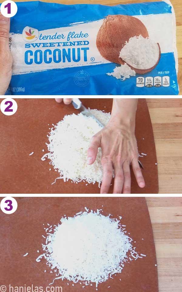 Shredded coconut on a cutting board, knife chopping coconut.