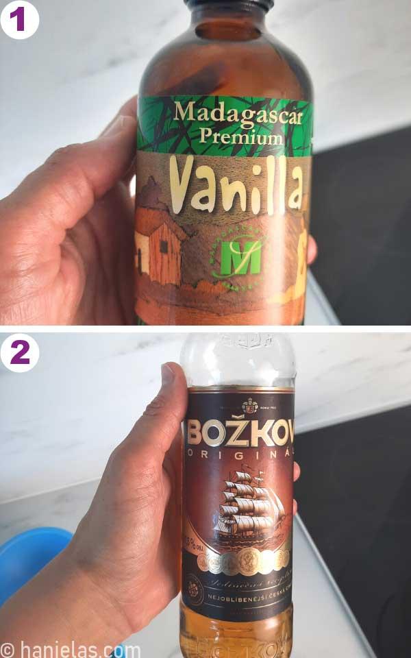 Bottle of Rum and Vanilla Extract.