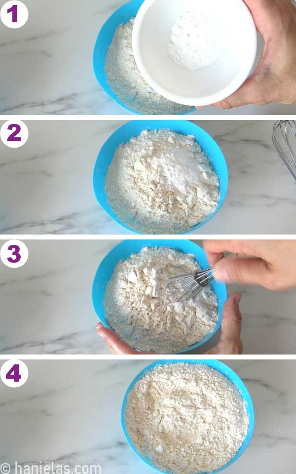 Bowl with flour, salt and baking powder.