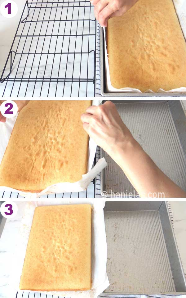 Two hands removing baked cake from a cake pan.