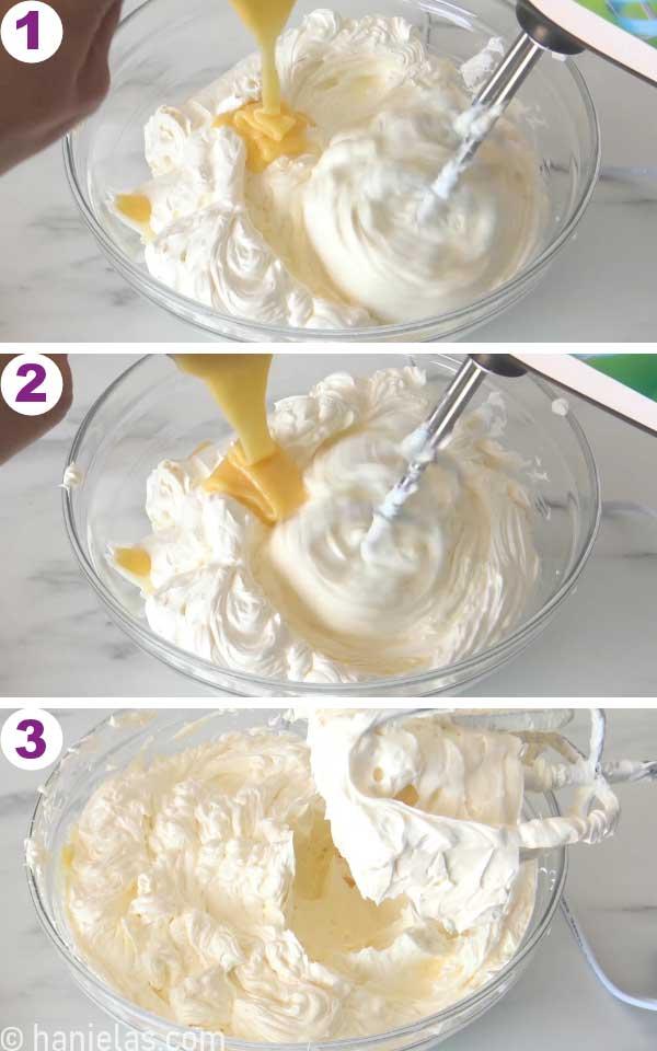 Mixer beating lemon curd into buttercream.