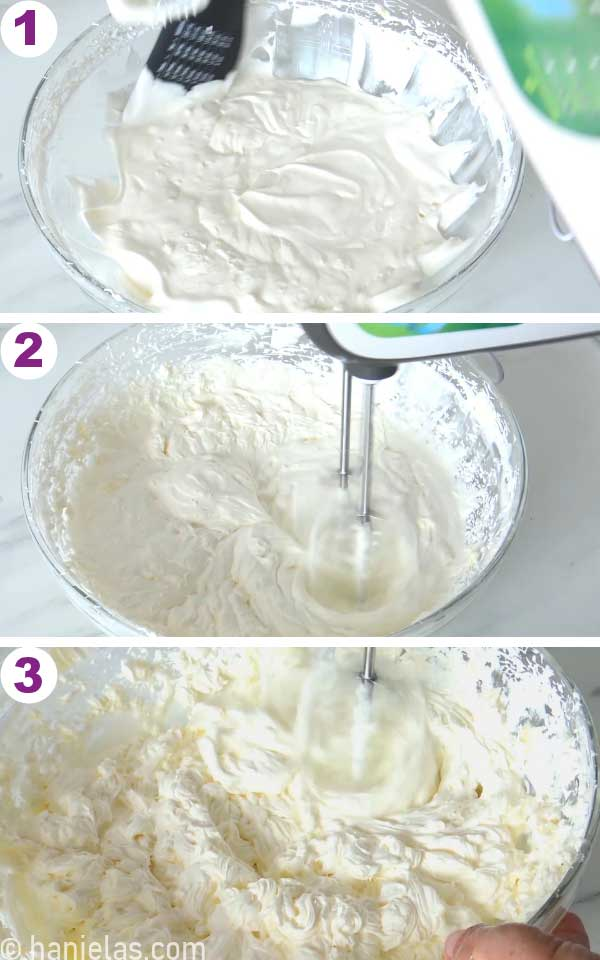Scrapping down the bowl with buttercream and beating buttercream with handheld mixer.