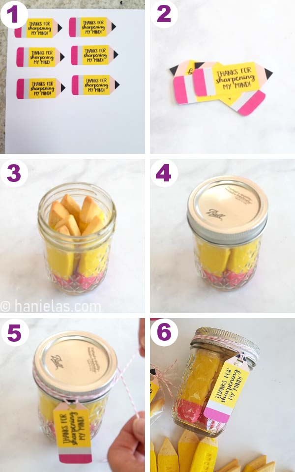 Label printed on cardstock, small mason jar filled with cookies with a label attached.