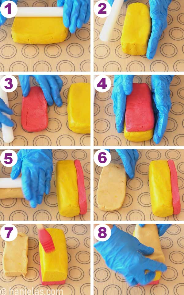 Layering yellow, pink and brown cookie dough, shaping an even cookie dough block.