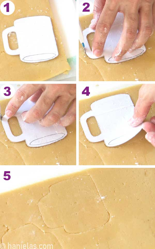 Cutting out cookie with a knife and a template.