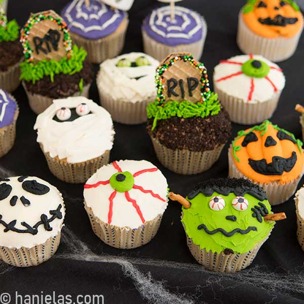 Close up of buttercream decorated cupcake for Halloween.