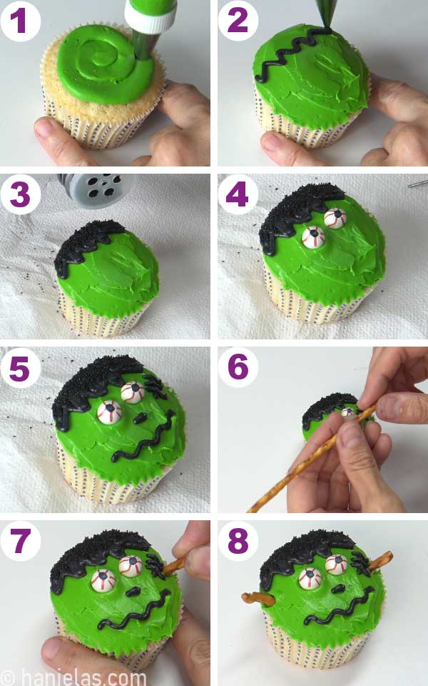 Decorating cupcake with buttercream like a Frankenstein.
