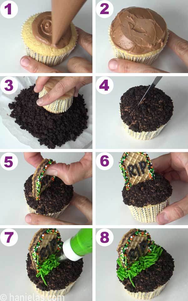 Cupcake frosted with brown buttercream, dipped in cookie crumbs with a wafer thombstone.