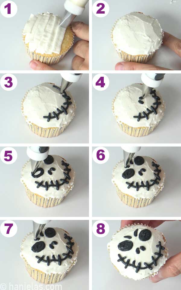 Frosting a cupcake with white buttercream, piping black details on white making Jack Skellington.