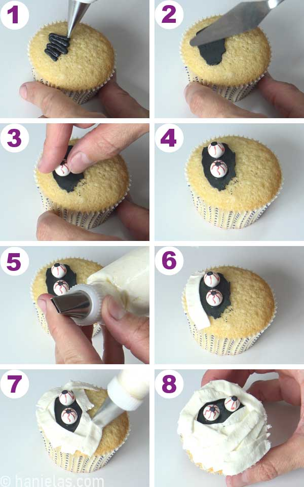 Cupcake decorated with candy eyes and white buttercream.