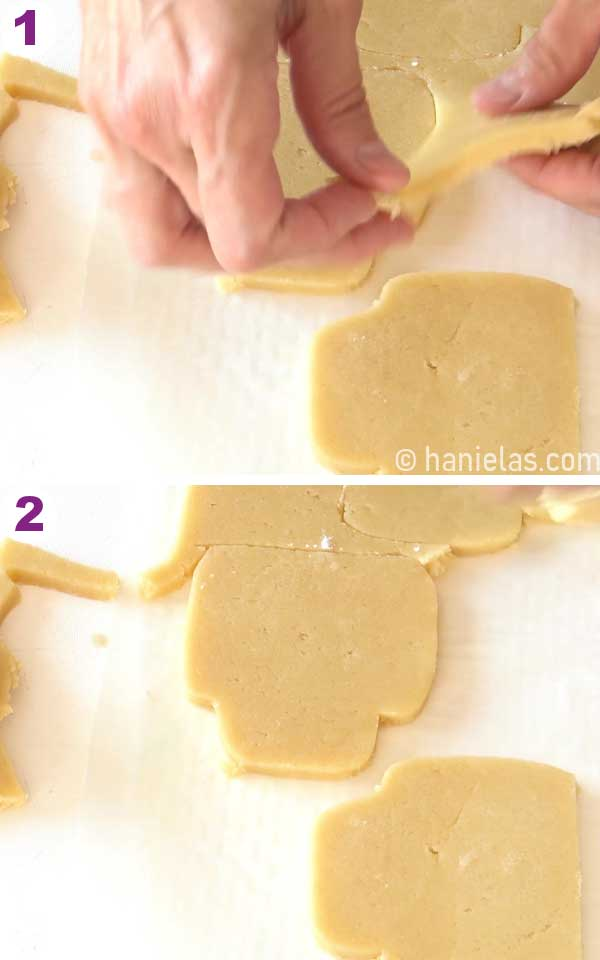 Hands lifting up rolled out cookie dough around cookie cut-outs.